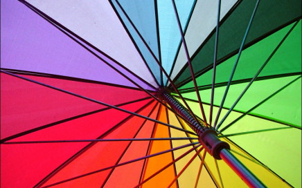 bright colorful rainbow umbrella rain cheerful