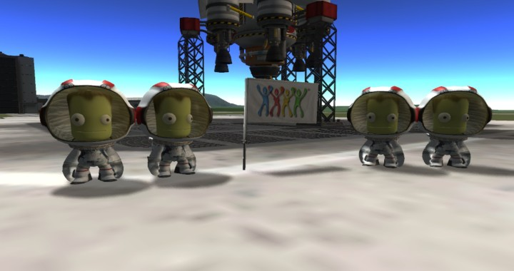 2 Groups Of Kerbals Standing next to Swing Life Style Flag