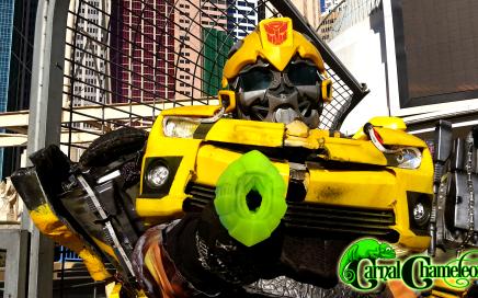 Bumble Bee holds a Frisky Beast Input Valve